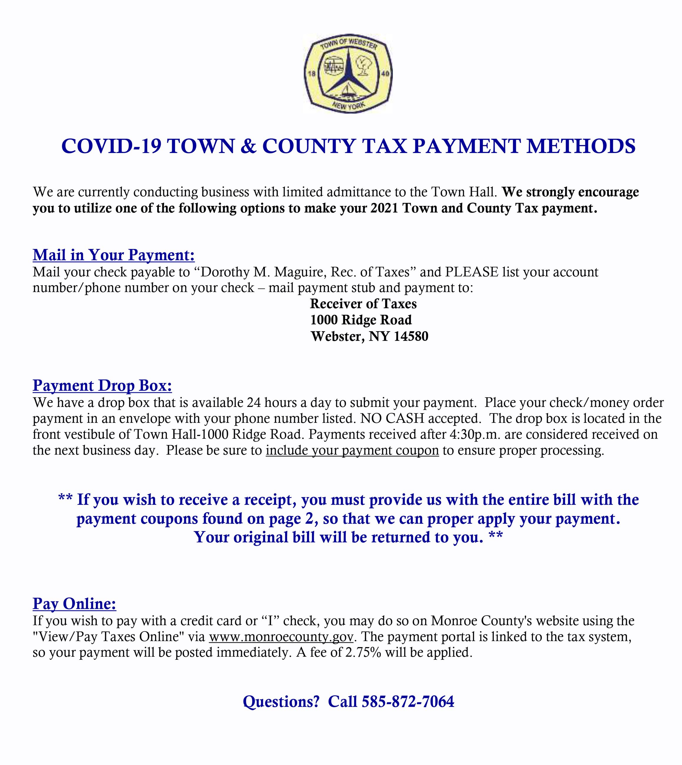 COVID19 Town  County Tax Payment Options2